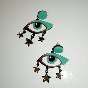 Hey, 4 eyes! Layered acrylic earrings